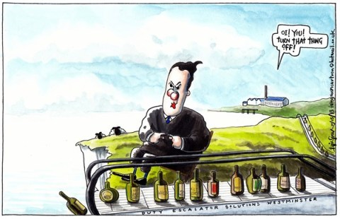 Iain Green - The Scotsman, Scotland - UK ALCOHOL DUTY ESCALATOR - English - UK, george osborne, chancellor, alcohol duty, scotch whisky, distillery, cliffs, escalator, bottles,