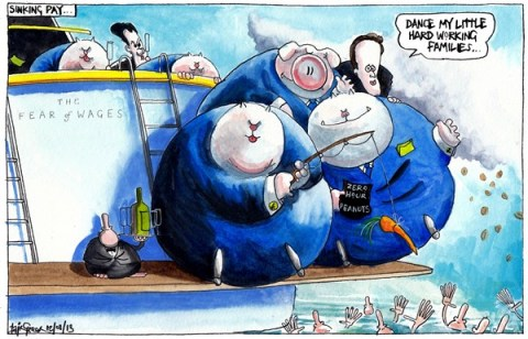 Iain Green - The Scotsman, Scotland - SINKING WAGES - English - Uk, scotland, pay, fat cats, falling wages, living wage, poverty, rich, poor, pay gap, yacht, drowning, sinking