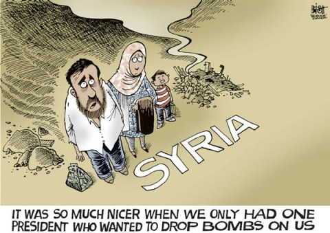 Randy Bish - Pittsburgh Tribune-Review - BOMBING SYRIA, COLOR - English - SYRIA, ATTACK, BOMB, BOMBING, ASSAD, OBAMA, UNITED STATES, AMERICA