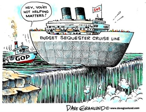 Dave Granlund - Politicalcartoons.com - Budget sequester - English - Sequester, budget cuts, automatic cuts, gop, apathy, broken government, painful cuts, defense cuts, middle class, deadline