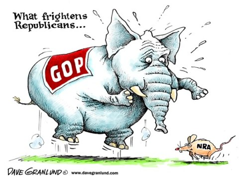Dave Granlund - Politicalcartoons.com - What frightens GOP - English - GOP, republican, NRA, gun control, congress,assault weapons, fears, money, support, scared
