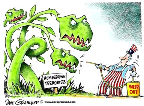 Dave Granlund - Politicalcartoons.com - Homegrown terrorists - English - Terrorism, homegrown terrorists, domestic terrorism, killers, bombers, attack, injuries, wounded, extremists, religion, extremists, murders, mass murder, mass destruction, weapons, explosives, jihad, islamic jihad, muslim, islamic