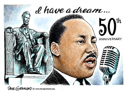 Dave Granlund - Politicalcartoons.com - I have a dream speech 50th - English -  50th, aug 28, anniversary , King, DC, 1963, race, racial, equality, black, white, rev King, Dr King, mlk