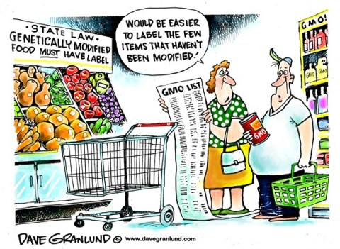 Dave Granlund - Politicalcartoons.com - GMO food label laws - English - GMO, genetically modified, genetic, modified, products, labels, food, produce, meats, vegetables, canned goods, groceries, grocery, poultry, beef, pork, state laws,