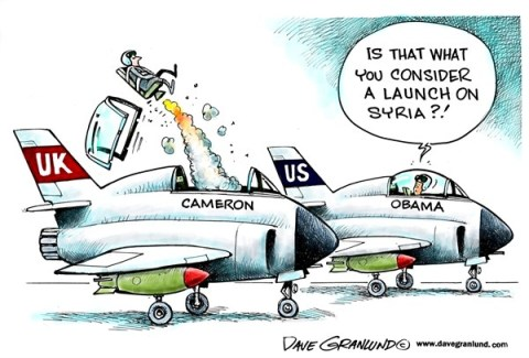 Dave Granlund - Politicalcartoons.com - US and UK respond to Syria - English - Syrian, United Kingdom, UK, Cameron, PM, reaction, respond, answer, allied, US, Obama, action, assad, gas, nerve gas, sarin, chemical attack, deaths, civilians, rockets, england