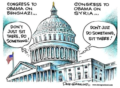 Dave Granlund - Politicalcartoons.com - Congress and Syria - English - Obama, congress, syria, President, house, Senate, gop, Democrats, White House, Syrian, nerve gas, sarin, civilians, action, attack, response, deaths, answer, benghazi, leadership, decision