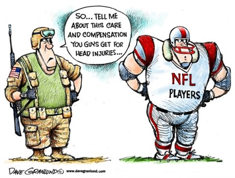 Dave Granlund - Politicalcartoons.com - NFL head injuries - English - Football, NFL players, head injuries, head injury, concussions, settlement, compensation, care, entitlements payments, suit, brain injury, GI injuries, US soldiers, troops, GI casualties, brain damaged, veterans, veteran care, benefits, medical care