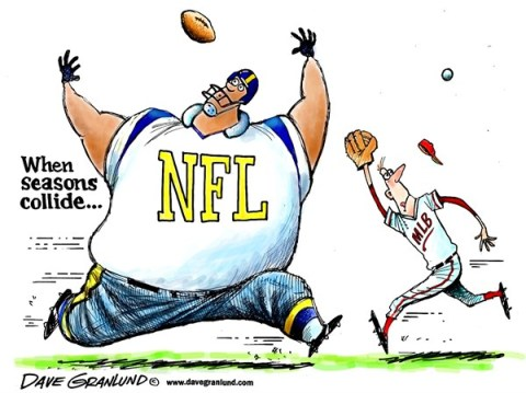 Dave Granlund - Politicalcartoons.com - NFL and MLB collide - English - sports, baseball, football, MLB,NFL,seasons, sports seasons, teams, overlap, gridiron, fans, viewers, fall, autumn, summer, players, athletes, compete