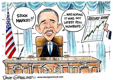 Dave Granlund - Politicalcartoons.com - Obama polls and stock market - English - Polling, obama ratings, president, low numbers, less popular, lagging, sinking polls, record stocks, highest stocks, 16000, highest numbers, stock surge