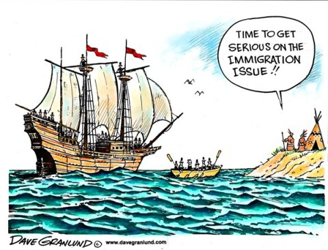 Dave Granlund - Politicalcartoons.com - Immigration issue - English - Pilgrims, Thanksgiving, Native Americans, Plymouth, ship, mayflower, landing, cape cod, massachusetts, immigration, immigration reform, reforms, legislation, congress, aliens, illegals, status, us, united states, entry, border, refugees,