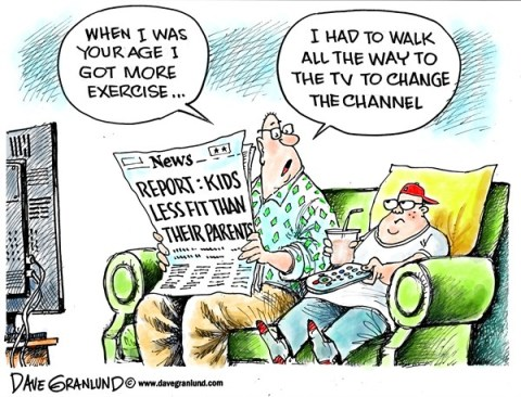 Dave Granlund - Politicalcartoons.com - Kids less fit than parents - English - Report, parents, children, kids, obese, obesity, overweight, flabby, couch potato, lazy, fitness, calories, eating, snacks, adults, tv, sitting, motivation, motivated