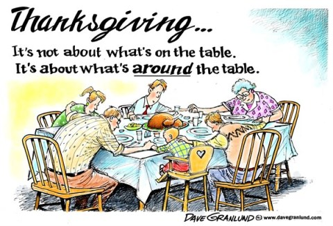 Dave Granlund - Politicalcartoons.com - Thanksgiving priority - English - Thanksgiving, turkey, family, prayer, thankful, grateful, friends, helping, blessings, holiday, giving thanks, feast, food, eat, eating, celebrate