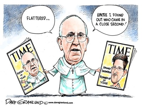 Dave Granlund - Politicalcartoons.com - Time Person Of  Year 2013 - English - 		Time magazine,cover,Pope Francis,Catholic,edward snowden,traitor,NSA,theft,treason,influential,person of the year,runner-up,runner up,second place,top pick