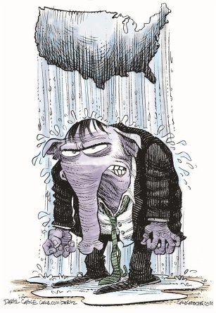 Daryl Cagle - CagleCartoons.com - GOP Raincloud COLOR - English - Republican,rain cloud,elephant,America,map,nation,weather,wet,water,Mitt Romney,Barack Obama,Campaign 2012,election