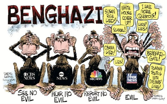 Daryl Cagle - CagleCartoons.com - Benghazi Monkeys COLOR - English - CBS News,NBC News,ABC News,television,cable,media,Benghazi, Libya, monkeys, see no evil, hear, report, speak, Benghazigate, Susan Rice, Fox News