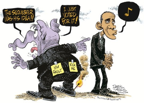 Daryl Cagle - CagleCartoons.com - GOP, Obama and the Sequester COLOR - English - hot foot,fire,match,supercommittee,President Barack Obama,elephant,Republican,Kick me,my fault,whistle,congress, GOP, sequester