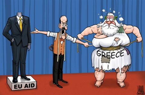 Greece and EU aid © Luojie,China Daily, China,EU,aid,suit,fat,lose weight,tailor,Greece
