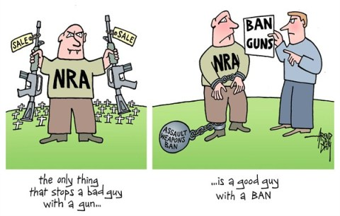 Arend Van Dam - politicalcartoons.com - bad guy good guy - English - NRA, ban guns, ban assault weapons, violent crime control, school shootings, stop a bad guy