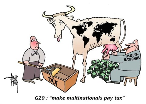 Arend Van Dam - politicalcartoons.com - tax avoidance - English - G 20, tax avoidance, tax evasion, multinationals, make multinationals pay tax, multinational corporations, multinational companies, profit shifting, fair share of taxes, international clampdown on corporate tax avoidance