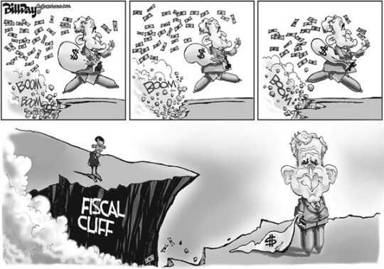 Bill Day - Cagle Cartoons - The Legacy - English - fiscal cliff, Bush, deficit, taxes, Obama