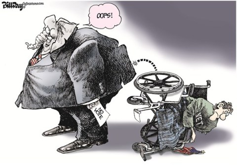 Bill Day - Cagle Cartoons - Disabled and Discarded - English - disabled, congress, GOP, vets, vote