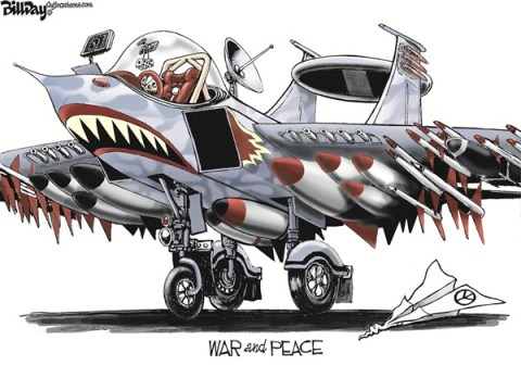 Bill Day - Cagle Cartoons - WAR and PEACE - English - military budget, cuts, budget, defense, jet fighter