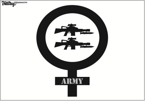 Bill Day - Cagle Cartoons - Army Equality Symbol - English - women, symbol, army, combat, equality