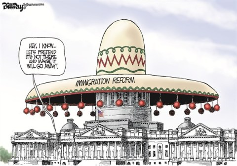 Bill Day - Cagle Cartoons - Hot Tomale - English - immigration reform,illigals,Congress,Obama