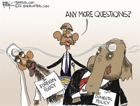 More Questions © Chip Bok,The Akron (Ohio) Beacon Journal,domestic,foreign,policy,questions,obama