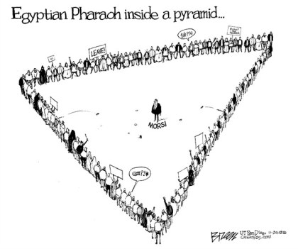Inside a Pyramid © Steve Breen,The San Diego Union Tribune,morsi,pyramid,leader,pharoah,protest,egypt,pharoh-mohamed-morsi