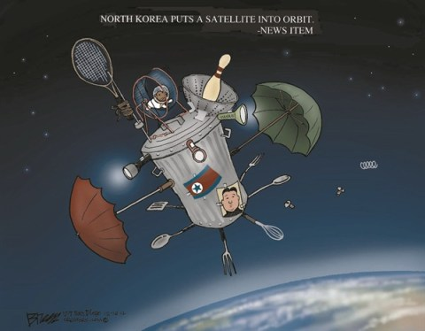 North Korea Satellite © Steve Breen,The San Diego Union Tribune,north korea,satellite,orbit,space,North Korea