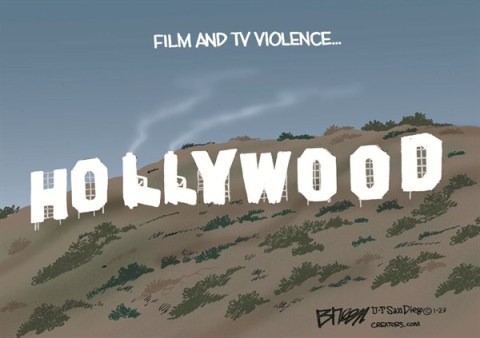 Hollywood Violence © Steve Breen,The San Diego Union Tribune,hollywood,violence,tv,shooting,movies,guns, Living With Guns, second amendment