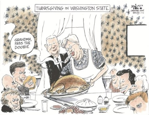 Thanksgiving Doobie © Chris Britt,The State Journal Register,doobie,pot,washington,state,legal,weed,thanksgiving-2012