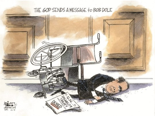 Disability Treaty © Chris Britt,The State Journal Register,bob dole,disability,treaty,denied,gop,message