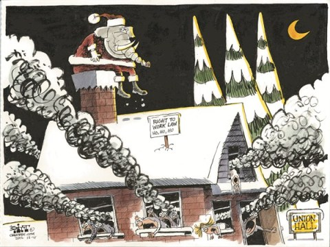 Right to Work © Chris Britt,The State Journal Register,union unrest,right,work,chimney,santa,Christmas, GOP, political christmas 2012, santa 2012, Union Unrest