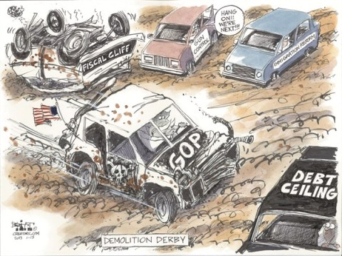 Demolition Derby © Chris Britt,The State Journal Register,fiscal cliff,demolition,derby,debt ceiling,reform,Debt Ceiling, GOP, guns