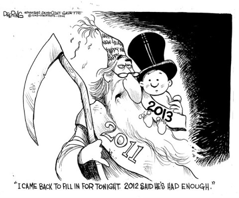 Enough 2012 © John Deering,The Arkansas Democrat Gazette,new year,2013,2012,enough,over,new-year-2013
