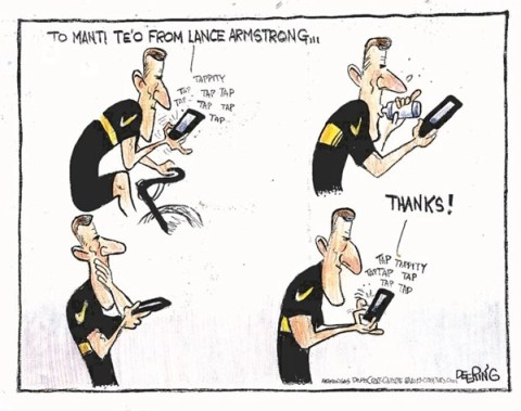Thank You Tweets © John Deering,The Arkansas Democrat Gazette,fake,girlfriend,lance armstrong,tweet,twitter,thanks,manti,armstrong-admission,fake-girlfriend
