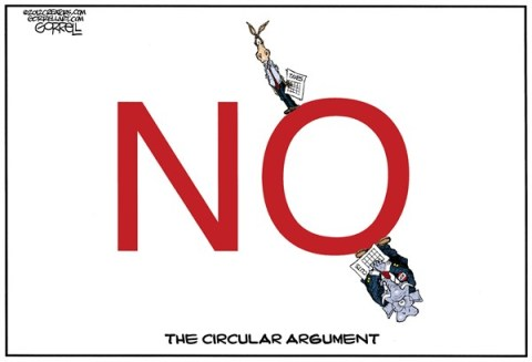 The Circular Argument © Bob Gorrell,National/Syndicated,fiscal cliff,argument,gop,tax,cuts,agreement
