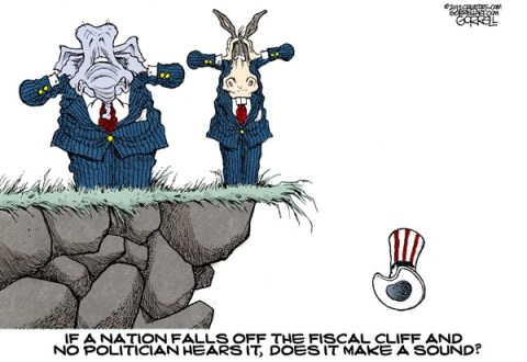 Nation Falls © Bob Gorrell,National/Syndicated,fiscal cliff,nation,fall,tax