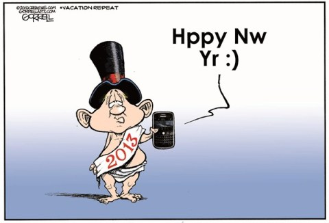Happy New Year © Bob Gorrell,National/Syndicated,happy,new,year,texting,new-year-2013
