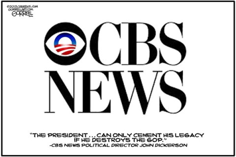 CBS News © Bob Gorrell,National/Syndicated,cbs,news,destroy,gop,obama,director,john dickerson