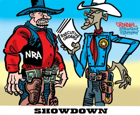 Showdown © Cal Grondahl,Utah Standard Examiner,executive,orders,obama guns,violence,killing,gun debate 2012, guns, nra, NRA 2012, second amendment