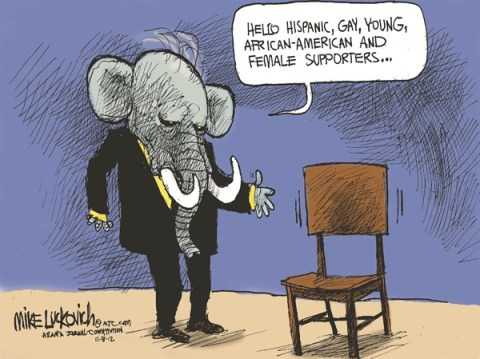 Empty Chair © Mike Luckovich,The Atlanta Journal Constitution,gop,empty,chair,women,voters,gay,hispanic,gop-loss,election-over-2012,women-voters