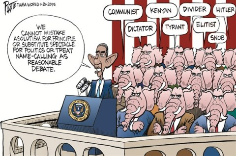 Name Calling © Bruce Plante,Tulsa World,obama,name,calling,dictator,debate,communist,tyrant,obama-inauguration