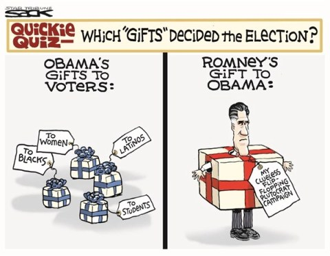 Gifts to Win © Steve Sack,The Minneapolis Star Tribune,obama,romney,gifts,flip flop,campaign,election,obama-wins-2012, obamas gifts,voters
