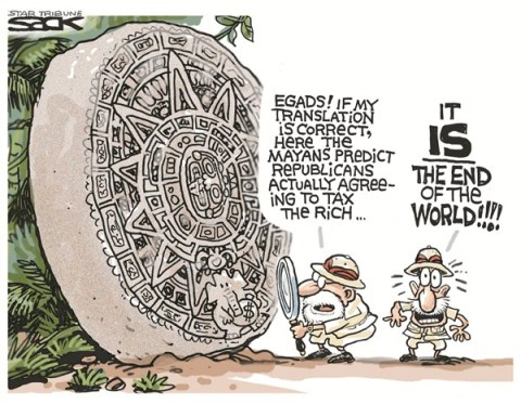 End of the World © Steve Sack,The Minneapolis Star Tribune,end,predictions,doomsday,over,tax,rich,republicans,agree,fiscal cliff, mayan calendar, mayan calendar 2012