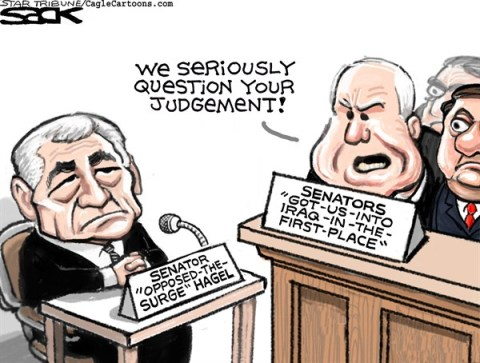 Steve Sack - The Minneapolis Star Tribune - Hagel Haggling color - English - Hagel, confirmation, Senate, Secretary of Defense, nominee, McCain