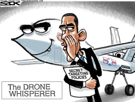 Steve Sack - The Minneapolis Star Tribune - Drone Whisperer color - English - OBAMA, DRONE, CIA