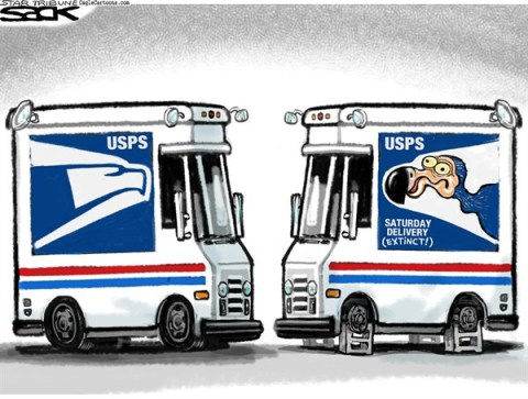 Steve Sack - The Minneapolis Star Tribune - Saturday Mail Dodo color - English - USPS, Post Office, mail, Saturday mail, postal, delivery